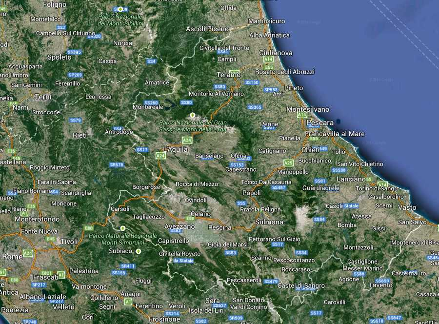Abruzzo Regione South Italy Map (Kindly in use by Google Maps)