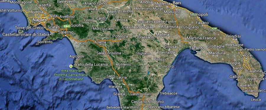 Basilicata Regione South Italy Map (Kindly in use by Google Maps)
