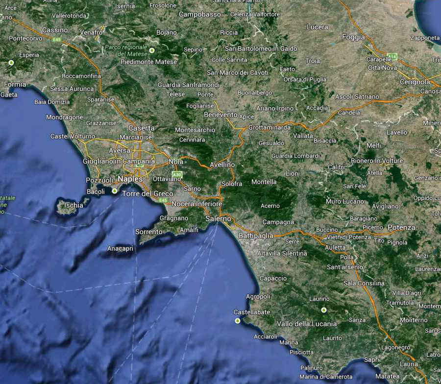 Campania Regione South Italy Map (Kindly in use by Google Maps)