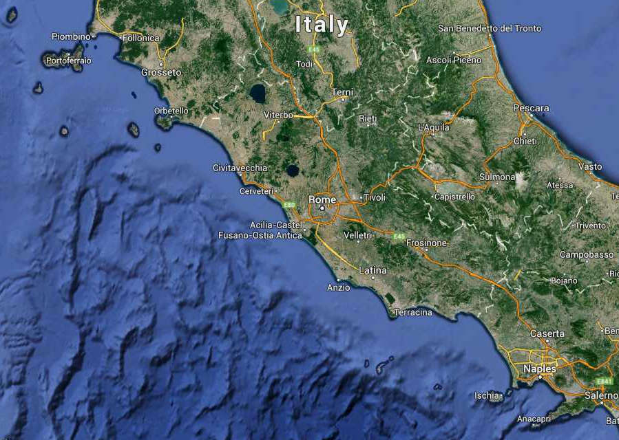 Lazio Regione South Italy Map (Kindly in use by Google Maps)