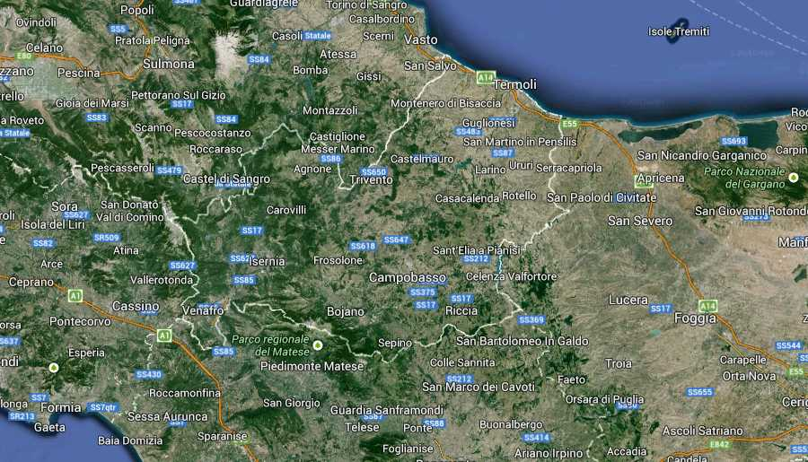 Molise Regione South Italy Map (Kindly in use by Google Maps