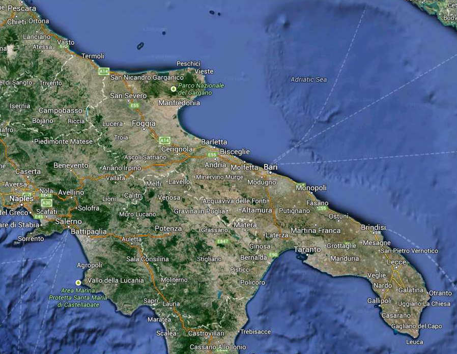 Apulia Regione South Italy Map (Kindly in use by Google Maps)