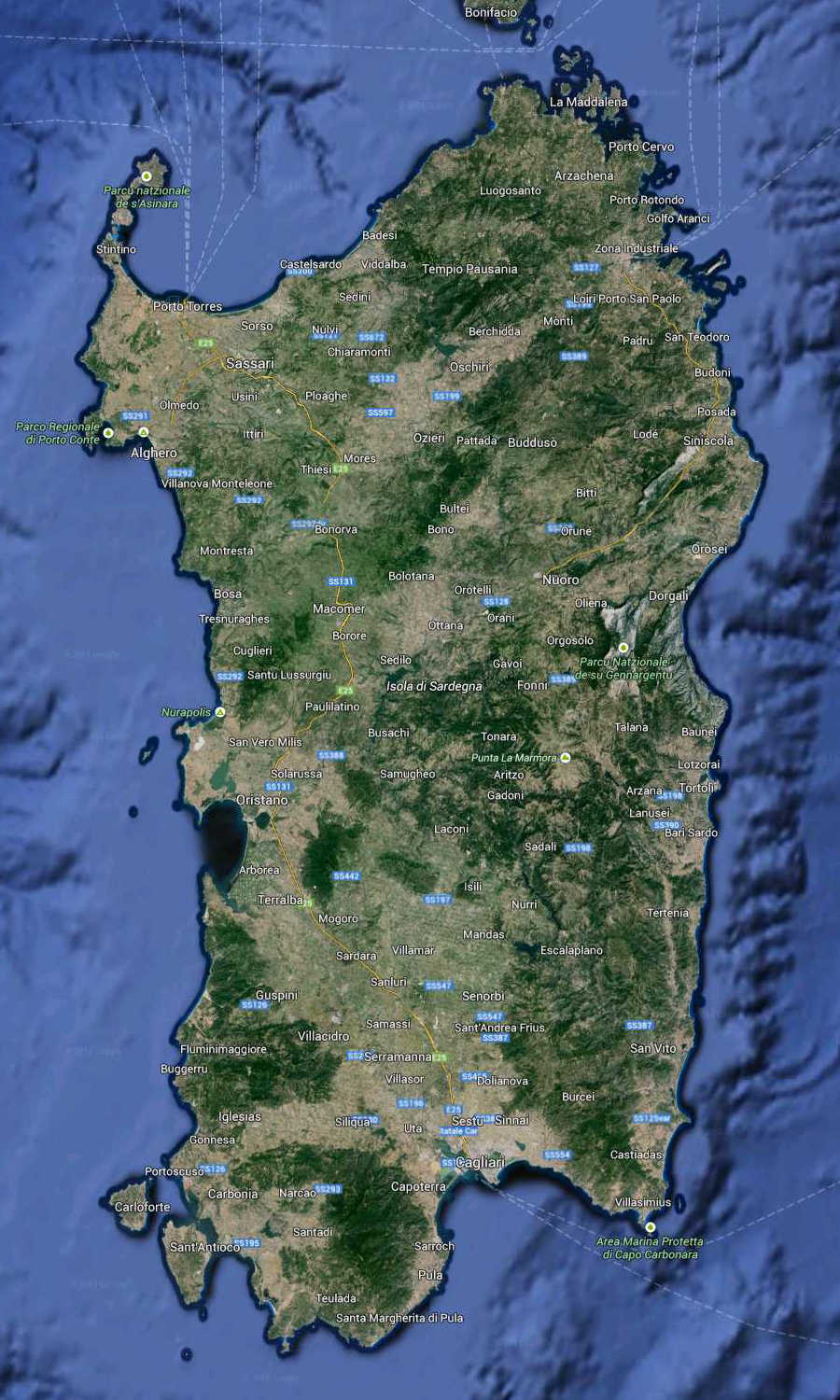 Sardinia Regione South Italy Map (Kindly in use by Google Maps)