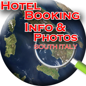 HOTEL BOOKING INFO & PHOTOS SOUTH ITALY - Welcome to Italy - Hotel Booking & Online Availability, Self Catering & Special Interest Holidays, Holiday Homes for Sale - Root Southern Italy - Route with us as we Root from there - Your Holiday Selected by you or Tailored by us. CHOOSE IT, CHECK IT, BOOK IT DIRECTLY ONLINE from Ancient Sicily to Amalfi Coast - Centuries of affinity between relaxation, comfort and recreation combined with art, history, travel and discovery - all savoured in with local folklore, traditions, food, wine and the soul of typical towns overhanging green mountains, through kilometres of rugged coast overlooking the blue Mediterranean and the warm-heart of all the local people... This awaits you on your ideal holiday in South Italy, arranged by the best interpreter of your holiday desires: you, combined with our professional, hands-on experience and know-how of southern Italy. In the comfort of your own home, find your southern Italian ideal accommodation and secure your Italian reservation online at the click of your mouse. Virtually explore this idyllic part of the Italian peninsula, and take a peek at all the destinations' images, locations and descriptions, comfortably and easily on this online brochure. The online brochure for travel and vacation to South Italy. We provide a wide range of information to give our guests a clear view of the available choices in destinations and accommodations, this way you can reserve your travel arrangements without delay. A place of romance, beauty, history, religion, tradition and folklore, combined with good food and traditionally, home made cuisine and wine, with chrystal clear blue sea, rugged coasts, long sandy beaches, entertainment and fun, Southern Italy is the ideal holiday destination for your travel wishes.  We appreciate the importance of a long wanted travel experience, that reflects on the purposes of both relaxation and fun. That's why we offer our guests this online brochure, with unlimited photos, videos and information on both the holiday destinations and resorts and the accommodation types and services. Whether a couple looking for time off to spend as a romantic week at the hotel, enjoying the hot weather, the restaurants' private ambience and the beach and sun, or a family whos' ideal two-week holiday is to relax in a self-catering villa, with a private pool for the kids to also enjoy and play around, close to the beach for freedom of choice, or even a trip for a larger group of friends, on the basis of an affordable long break, for entertaining but also relaxing time at discounted prices, with discovery and excursions as main aim, the South of Italy is an excellent destination.  Such wide choice of destinations and accommodation types so our visitors can tailor their own holiday, based on area, specific resorts, or tourist attraction, accommodation and board type, self-catering villas, bungalows, apartments, agritourisms, or hotels on half board, full board or b&b. The Amalfi Coast, Sicily, Sardinia, Calabria, Puglia, Basilicata, Eolian Islands, Tremiti Islands and Maddalena Archipelago islands all have plenty to offer, to give you the travel experience of your life with the facilities and services of your choice, for your own tailor made vacation.  Fantastic natural areas in the Southern Italian protected National Parks for amazing rafting, trekking and sports experiences which also include breathtaking views, like the Pollino National Park in Calabria, or the Maddalena Archipelago National Park in Sardinia for exotic experiences discovering the natural beauties of small islands and their sea beds full of surprises, or the wonderful Castellana Grottoes in Puglia, for an unforgettable natural game of color and light experience inside our very own Mother Earth; brilliant history facts and historical findings, like Pompei, the ancient and prosperous Roman city, lost under the fury of the Vesuvio Volcano, testimony of great history as even the exceptional Greek temples of the Sicilian Valley of Temples; religion, tradition and folklore on the Amalfi Coast and the romantic typical towns of Amalfi, Sorrento and Positano or beautiful natural sceneries of Capri Island; All these destinations, resorts and locations explained for you in our online brochure to tailor your own holiday to the magnificent travel destination of South Italy right in the middle of the Mediterranean Sea.